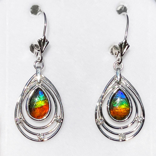 14K White Gold Ammolite Pear Teardrop Solara Style Earrings 25GLE
