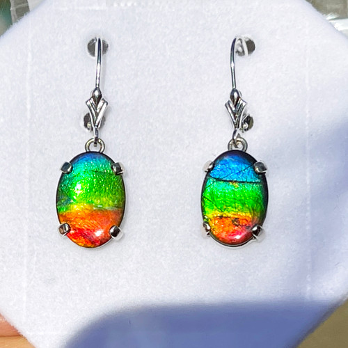 14KW Gold Ammolite Oval Dangle Drop Earrings 23GLE