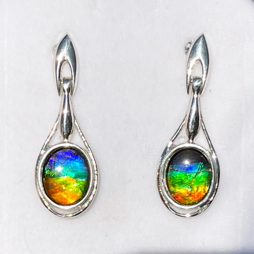 Ammolite Oval in Pear Post Dangle Earrings 23SE