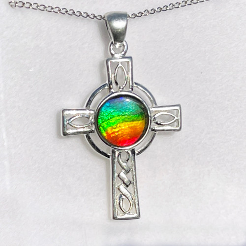 Ammolite Celtic Cross Sterling Silver Pendant Necklace  142SP
