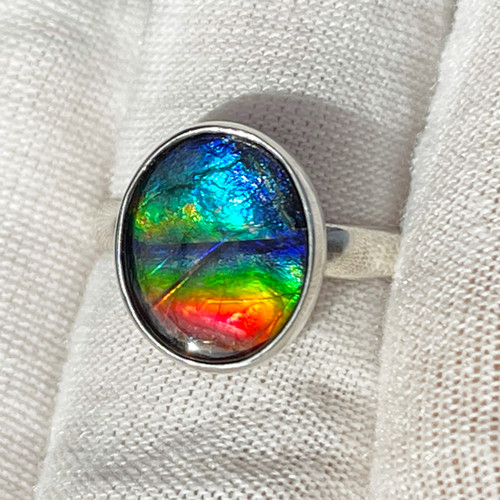 Ammolite  Bezel Set Oval Ring Sterling Silver 14SR
