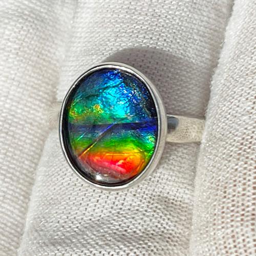 Ammolite  Bezel Set Oval Ring Sterling Silver 14SR