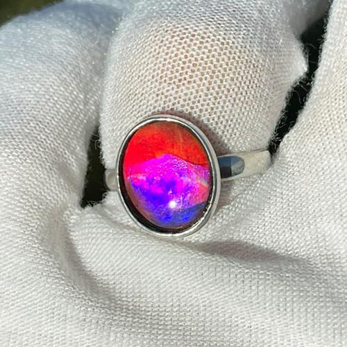Ammolite Rare Pink  Bezel Set Oval Ring Sterling Silver 22SR