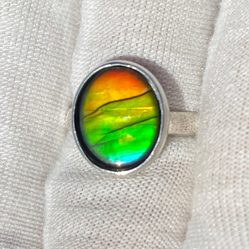 Ammolite  Bezel Set Oval Ring Sterling Silver 25SR
