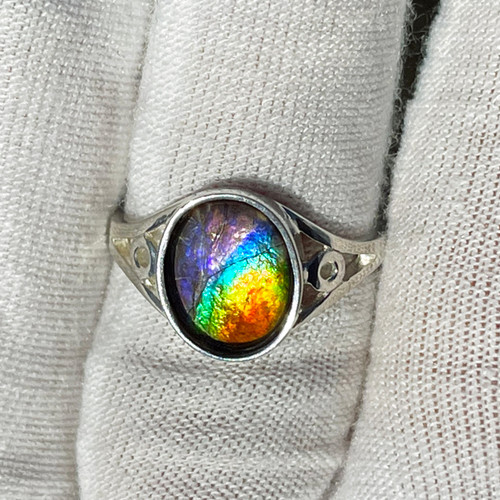 Ammolite  Oval Ring Sterling Silver 26SR