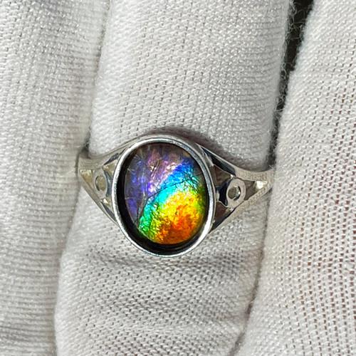 Ammolite  Oval Ring Sterling Silver 26SR