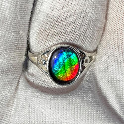 Ammolite  Oval Ring Sterling Silver 27SR