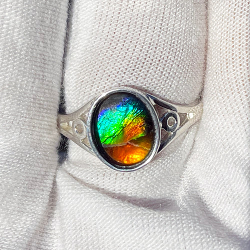 Ammolite  Oval Ring Sterling Silver 28SR