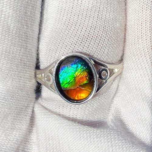 Ammolite  Oval Ring Sterling Silver 28SR