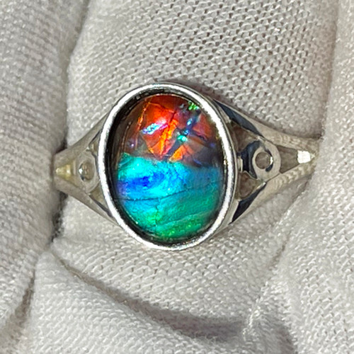 Ammolite  Oval Ring Sterling Silver 32SR