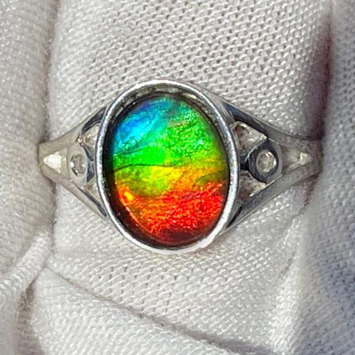 Ammolite  Oval Ring Sterling Silver 33SR