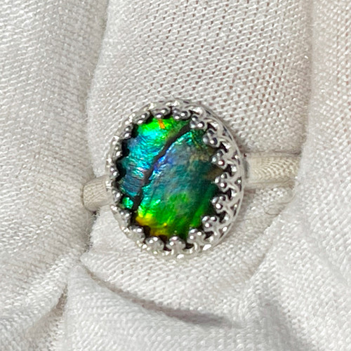 Ammolite Gallery Bezel Oval Ring Sterling Silver 38SR