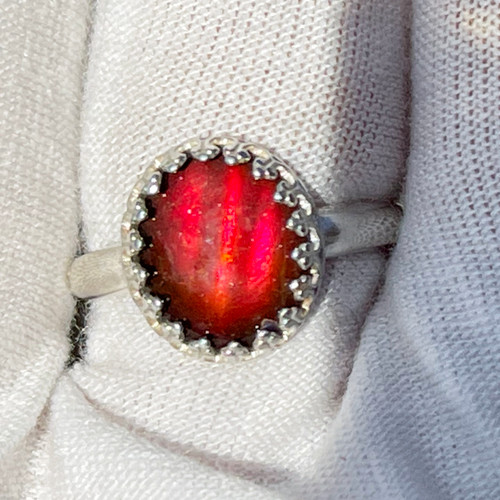 Ammolite Gallery Bezel Oval Ring Sterling Silver 40SR