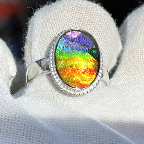 Ammolite Rope Bezel Oval Ring Sterling Silver 64SR
