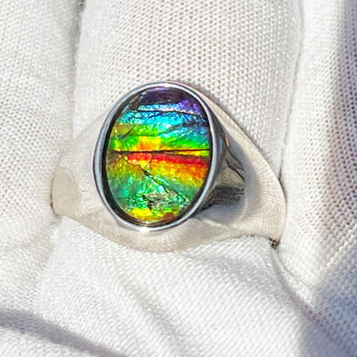 Ammolite Oval Ring Sterling Silver 40SMR