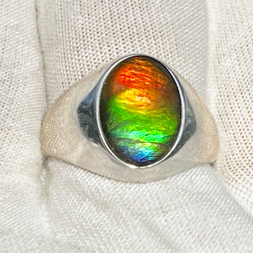 Ammolite Oval Ring Sterling Silver 42SMR