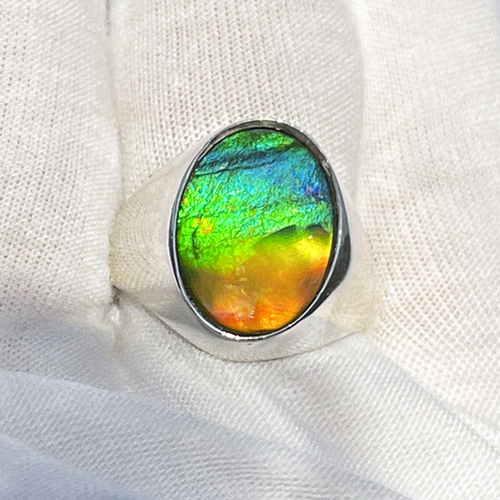 Ammolite Oval Ring Sterling Silver 44SMR