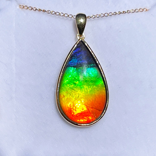 18K Ammolite Pear Pendant Necklace 32GP