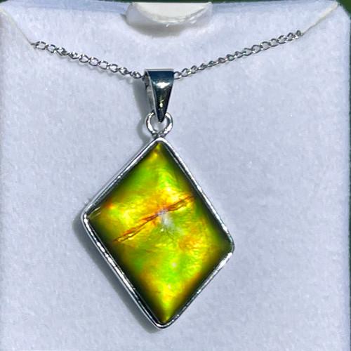 Ammolite Diamond Shape Sterling Silver Necklace Pendant 116SP
