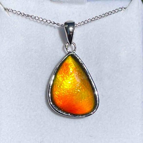 Ammolite Freeform Sterling Silver Necklace Pendant 121SP