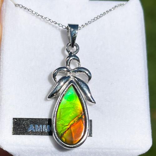 Ammolite Pear Teardrop Sterling Silver Necklace Pendant 122SP