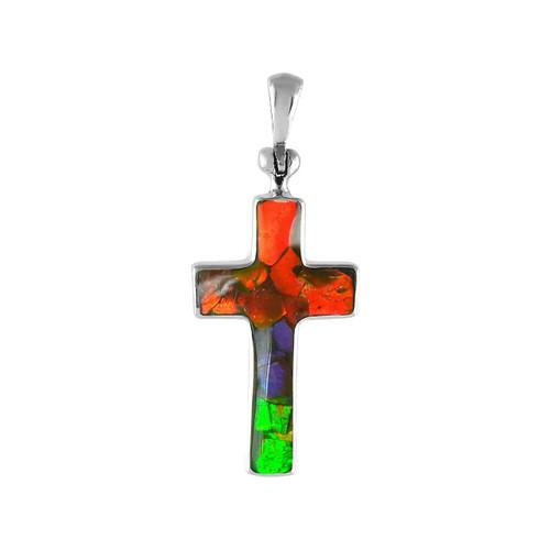 Ammolite Mosaic Cross Sterling Silver Pendant Necklace