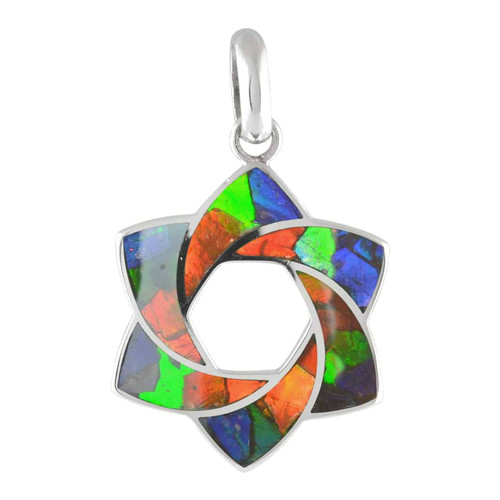 Ammolite Mosaic Star Sterling Silver Pendant Necklace  125SP