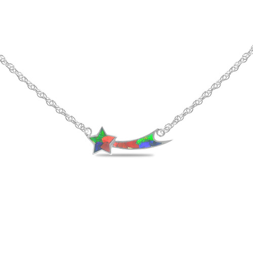 Ammolite Mosaic Shooting Star Sterling Silver Pendant Necklace 127SP