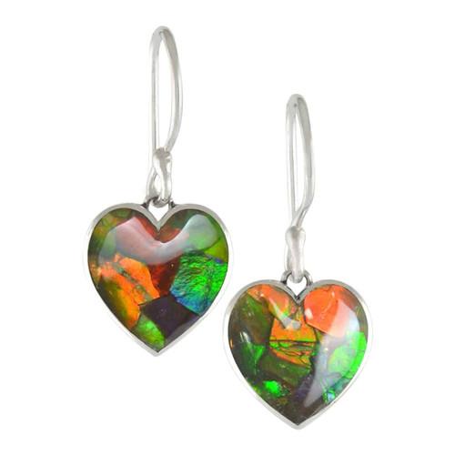 Ammolite Mosaic  Heart Dangle Sterling Silver Earrings