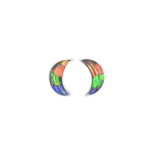 Ammolite Mosaic Moon Post Sterling Silver Earrings