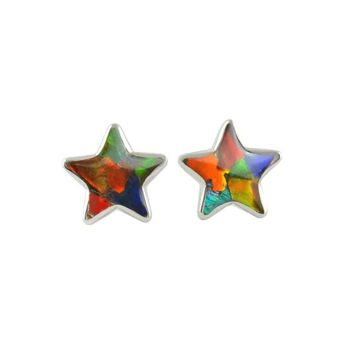 Ammolite Mosaic Star Post Sterling Silver Earrings