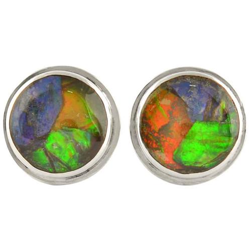 Ammolite Mosaic Round Post Sterling Silver Earrings 34SE