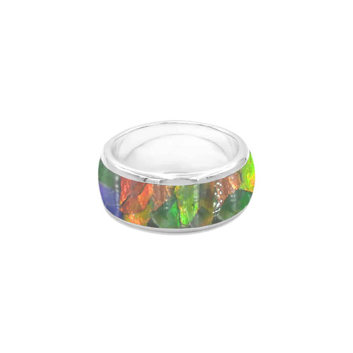 Ammolite Mosaic Band Ring Sterling Silver