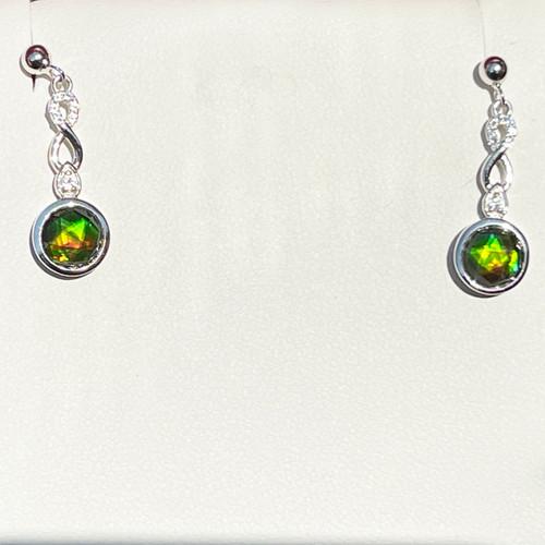 Korite Ammolite Faceted Round Dangle Post Earrings