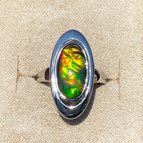 Korite Ammolite Long Oval Ring 3KSR