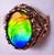 14K Ammolite Oval Filigree Ring 37GR
