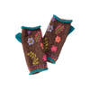 Pair of Handwarmers with Embroidery Chocolate Brown