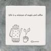 Square Porcelain Coaster - Magic and Coffee