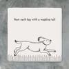 Square Porcelain Coaster - Running Dog