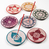 Carved Round Incense Holder with Chakra Design Assorted Colours