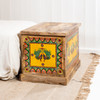 Hand Painted Wooden Trunk: Dancing Peacocks