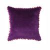Velvet Pom Pom Cushion Damson