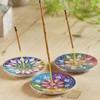 Carved Soapstone Mandala Incense Holder  Assorted Colours Design