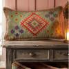 Rectangular Embroidered Stone Wash Cushion Teal