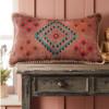 Rectangular Embroidered Stone Wash Cushion Pink
