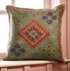 Embroidered Square Stone Wash Cushion with embroidery, teal
