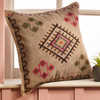 Embroidered Square Stone Wash Cushion with embroidery, grey