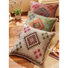 Embroidered Square Stone Wash Cushion with embroidery pink