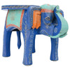 Large Painted Elephant Table Turquoise & Royal Blue