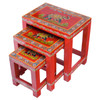 Nest of 3 Hand Painted Red Elephant Tables